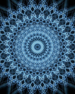 Digital Art - Beautiful Mandala In Blue Color by Jaroslaw Blaminsky