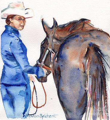 Beautiful Western Cowgirl Painting - Black Horse In Watercolor Beautiful by Maria's Watercolor