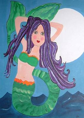 Painting - Beautiful Mermaid With Purple Hair by Christine Quimby