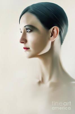 Art Print featuring the photograph Beautiful Model Highkey Fashion Studio Portrait by Dimitar Hristov