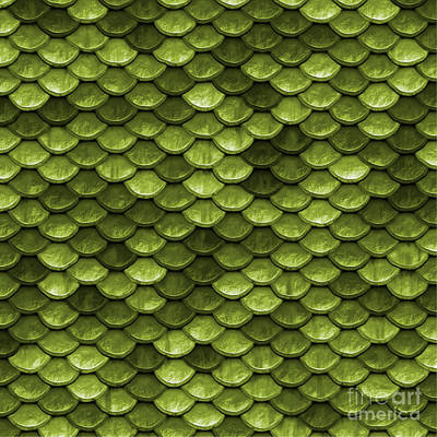 Luminous Digital Art - Beautiful Moss Green Mermaid Fish Scales by Tina Lavoie