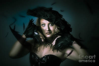 Enigmatic Photograph - Beautiful Mystical Girl In Delicate Black Fashion by Jorgo Photography - Wall Art Gallery
