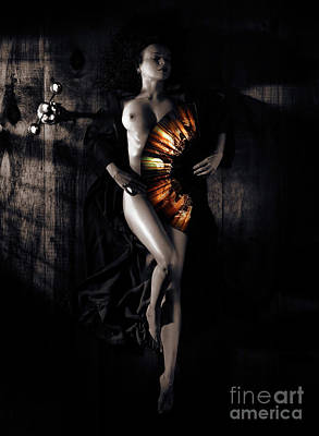 Erotic Photograph - Beautiful Naked Woman Covering Her Body With Fan Artistic Nude Z by Awen Fine Art Prints