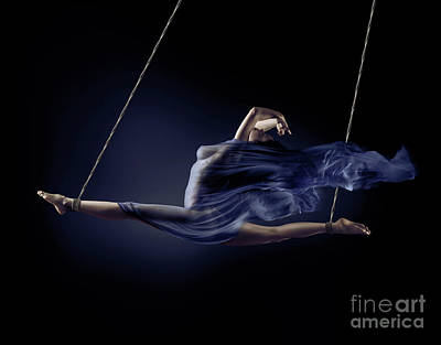 Art Nude Erotic Bondage Photograph - Beautiful Naked Woman Suspended In A Split With Bondage Ropes Wi by Awen Fine Art Prints