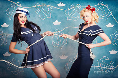 Beautiful Navy Pinup Girls On Marine Background Art Print by Jorgo Photography - Wall Art Gallery