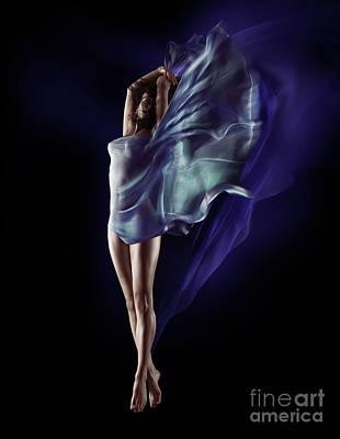 Nude Woman Photograph - Beautiful Nude Woman Floating In Mid-air With Flowing Blue Cloth by Awen Fine Art Prints