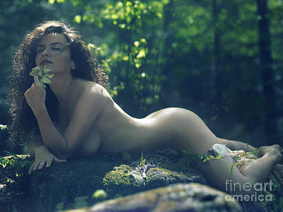 Beautiful Nude Woman Lying Naked In The Forest With A Wild Flowe Art Print