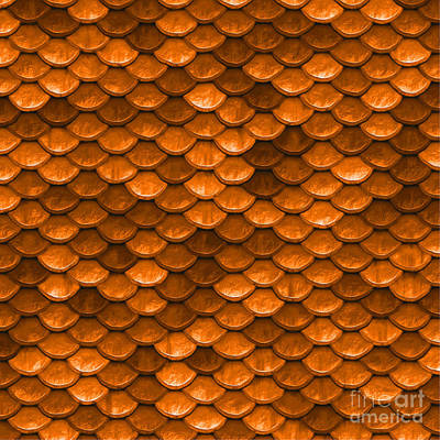 Scale Digital Art - Beautiful Orange Mermaid Fish Scales by Tina Lavoie
