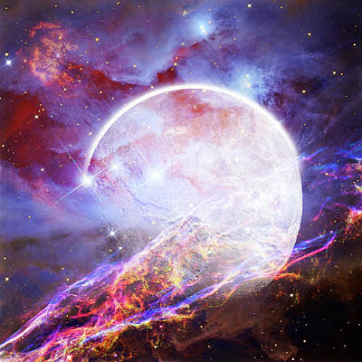 Science Fiction Photograph - Beautiful Outer Space Galaxy Composite Image - Elements Of This  by Matthew Gibson