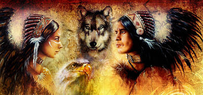 Indian Tribal Art Painting - Beautiful Painting Of An Young Indian Man And Woman  Accompanied by Jozef Klopacka