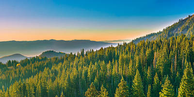 Clear Sky Photograph - Beautiful Panoramic Mountain Sunrise In Utah by James Udall