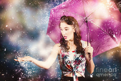 Captivating Photograph - Beautiful Pin Up Woman Catching Rain Water by Jorgo Photography - Wall Art Gallery