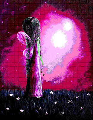 Fantasy Fairy Art Painting - Beautiful Pink Angel Fairy By Shawna Erback by Shawna Erback