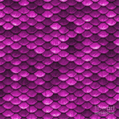 Scale Digital Art - Beautiful Pink Mermaid Fish Scales by Tina Lavoie