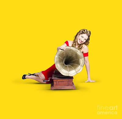 Listening Photograph - Beautiful Pinup Woman Listening To Old Gramophone by Jorgo Photography - Wall Art Gallery