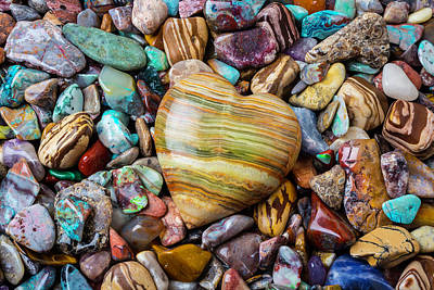 Heart Shaped Rock Photograph - Beautiful Polished Colorful Stones by Garry Gay