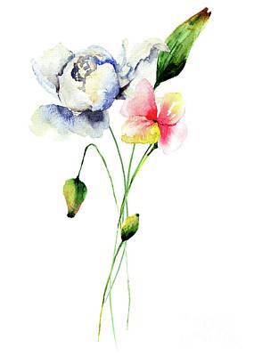 Painting - Beautiful Poppy And Peony Flowers by Regina Jershova