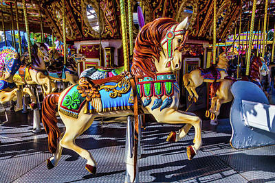 Beautiful Prancing Carrousel Horse Art Print
