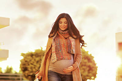 Photograph - Beautiful Pregnant Woman With Shopping Bags by Anna Om