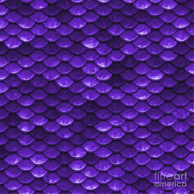 Scale Digital Art - Beautiful Purple Mermaid Fish Scales by Tina Lavoie