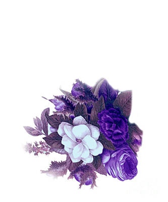 Beautiful Purple Vintage Flowers Art Print by R S Lemke