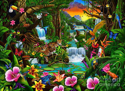 Waterfall Digital Art - Beautiful Rainforest by Gerald Newton