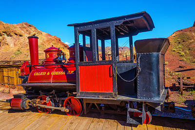 Narrow Gauge Engine Photograph - Beautiful Red Calico Train by Garry Gay