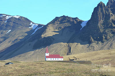 Photograph - Beautiful Red Roof On The Chapel In Vik Iceland by DejaVu Designs