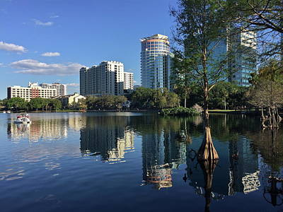 Photograph - Beautiful Reflections Of Downtown Orlando by Denise Mazzocco