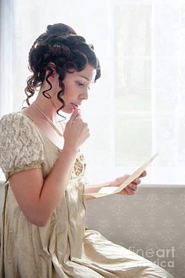 Empire Waist Photograph - Beautiful Regency Period Woman Reading A Love Letter by Lee Avison