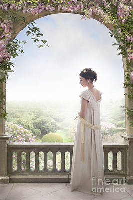 Beautiful Regency Woman Beneath A Wisteria Arch Art Print