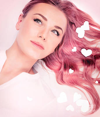 Photograph - Beautiful Romantic Girl With Pink Hair Style by Anna Om