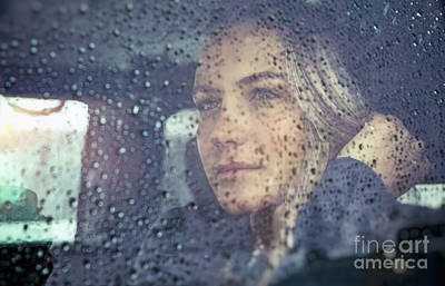 Photograph - Beautiful Sad Woman In The Car by Anna Om