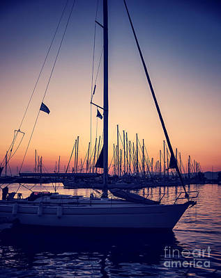 Photograph - Beautiful Sailboat On Sunset by Anna Om