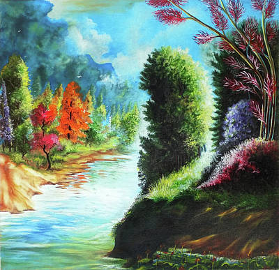 Nature Abstract Drawing - Beautiful Scenery by Arun Sivaprasad