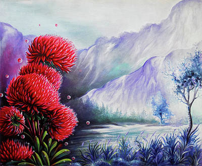 Visionary Art Drawing - Beautiful Scenery The Red Flowers by Arun Sivaprasad
