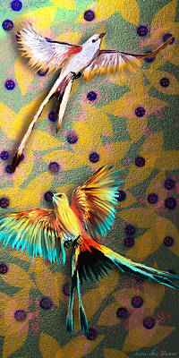 Digital Art - Beautiful Scissor-tailed Flycatchers by Iowan Stone-Flowers