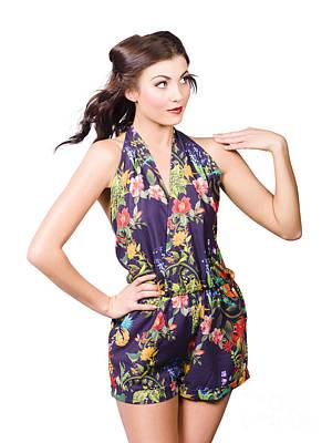 Beautiful Sexy Model In Sleeveless Retro Fashion Art Print
