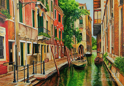 Beautiful Side Canal In Venice Art Print by Charlotte Blanchard