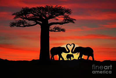 Park Scene Digital Art - Beautiful Silhouette Of African Elephants At Sunset by Katrina Brown