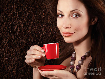 Beautiful Smiling Woman Holding A Cup Of Coffee Art Print
