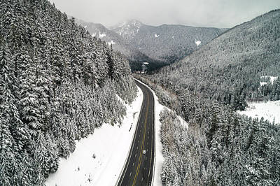 Photograph - Beautiful Snowy Mountain Road Landscape Scenic Route by Open Range