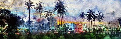 Miami Skyline Wall Art - Photograph - Beautiful South Beach Watercolor by Jon Neidert