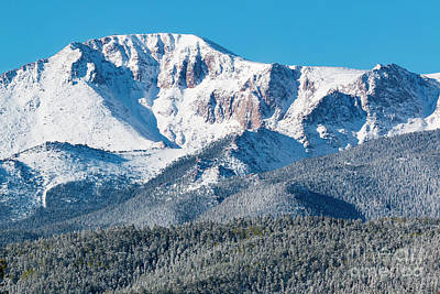 Steven Krull Photos - Beautiful Spring Snow on Pikes Peak Colorado by Steven Krull