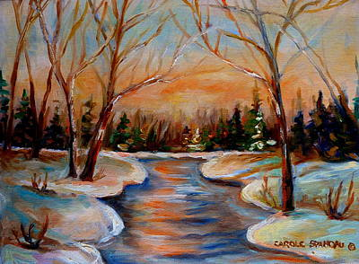 Montreal Winter Scenes Painting - Beautiful  Spring Thaw by Carole Spandau