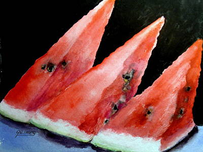 Painting - Beautiful Summer Watermelon  by Carol Grimes