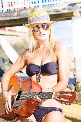 Pleasure Photograph - Beautiful Sunglasses Girl Playing Guitar Outdoors by Jorgo Photography - Wall Art Gallery