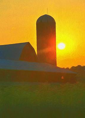 Old Barns Mixed Media - Beautiful Sunrise Over The Farm by Dan Sproul