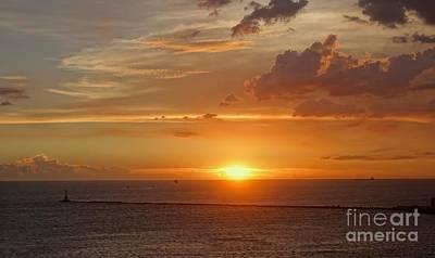 Photograph - Beautiful Sunset At Kaohsiung Harbor by Yali Shi