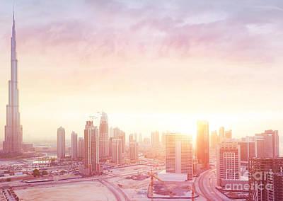 Photograph - Beautiful Sunset Over Dubai City by Anna Om